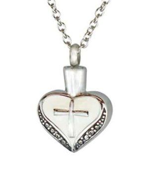Colgante para cenizas con forma de corazón blanco e incrustaciones de piedra.