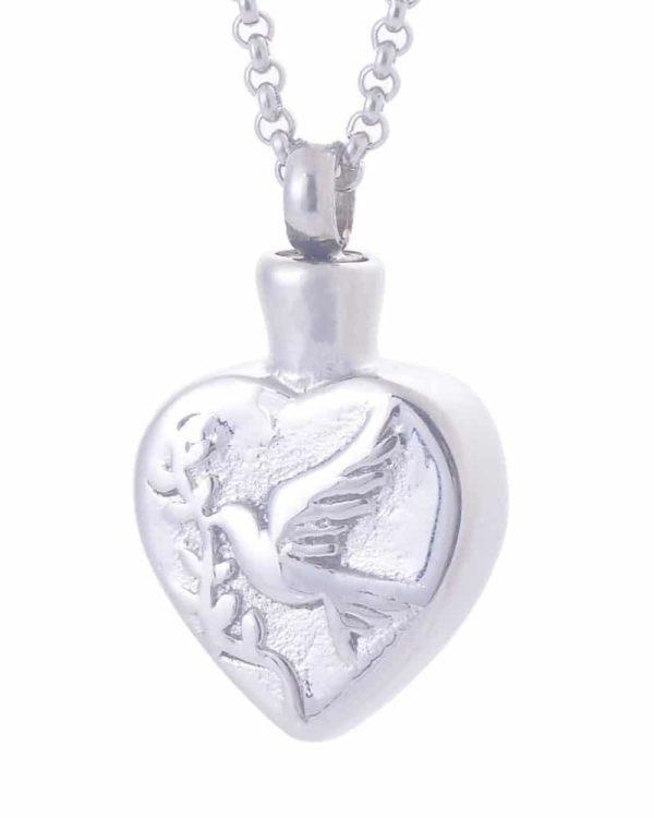Colgante para cenizas con forma de corazón y grabado de paloma libre